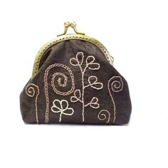 Brown silk and embroidered frame coin purse ($28) ❤ liked on Polyvore