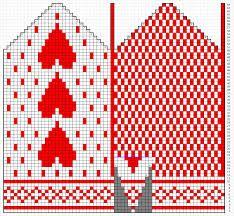 strikkemønster hjerte - Google-søk Knitting Charts, Knitting Stitches, Free Knitting, Knitting Patterns, Crochet Patterns, Knitted Mittens Pattern, Knit Mittens, Mitten Gloves, Luke 2
