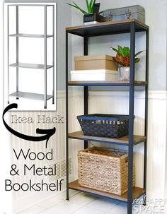 Ikea Hyllis Hack. Wood and Metal bookshelf from realhappyspace.com