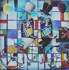 Obra: Mondrian II #arte #art #mondrian #alemaoart #brasil #brazil #bike #seriebicicletas #balao #cor #colors #tela #pintura #ludico #quadro #frame