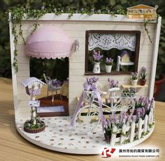 Dollhouse Miniature DIY Kit with Cover Romantic Love Lavender Story Garden NEW in Dolls & Bears, Dollhouse Miniatures, Doll Houses Vitrine Miniature, Miniature Rooms, Miniature Crafts, Miniature Houses, Miniature Furniture, Dollhouse Furniture, Wooden Dollhouse, Diy Dollhouse, Dollhouse Miniatures
