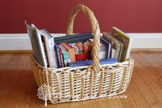 Morning Bible Time basket - They pick their own devotional book in the morning, find the verse in the Bible, and then write/draw in their journal afterward