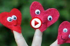 Homemade Valentines: Finger Puppet Hearts Video #Valentines, #pinsland, #yangutu, #videobox, #howto, https://apps.facebook.com/yangutu