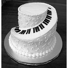 Spiral Piano Cake - Music / Musical Instruments by mommachris on... ❤ liked on Polyvore featuring food, cakes, backgrounds, food and drink and pictures
