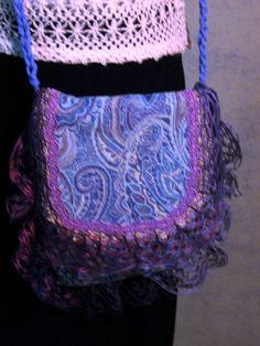 Tapestry Crossbody Bag, Tapestry Festival Bag, Tapestry Boho Bag, Blue Tapestry Bag, Crochet Fringe Bag, Boho Crossbody Bag, Hippie Bag by EclectiqueFlatteries on Etsy