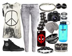 """""""Punk"""" by hard-core-warped-tour-anons ❤ liked on Polyvore featuring H&M, Topshop, Converse, INDIE HAIR, PLANT, Nalgene, Eos, Eva Fehren, Bliss Diamond and women's clothing"""