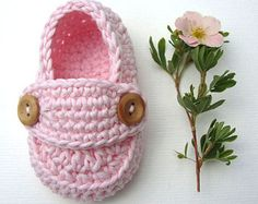 Crochet Baby booties pastel pink loafers shoes size 3/6 months with giftbox ready to ship