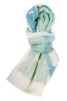 Block Scarf / Dusk Blue & Grayed Jade #scarf # accessories #handmade