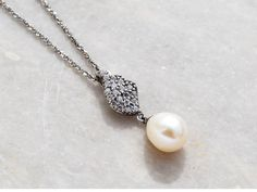 925 Sterling Silver Fresh Water Pearl Necklace with by KANTILAKI