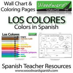 Spanish Teacher Resources - Los colores en español - Un afiche acerca de los colores en español con dos páginas para colorear - Colors in Spanish - A poster (A4) about the colors in Spanish for a classroom wall and two coloring pages.