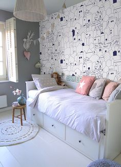 Summer Holiday Removable Wallpaper The wall murals are printed on MagicStick - innovative, self-adhesive material, which allows them to be applied and peeled multiple times! Cool Teen Bedrooms, Girls Bedroom, Bedroom Decor, White Bedroom, Small Bedroom Ideas For Girls, Ikea Girls Room, Girls Daybed, Childrens Bedroom Furniture, Small Room Decor