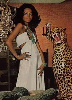 Diana Ross wearing a Creation of Halston and ...