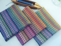 Napkins done - I love them! - all gone, SOLD in my Etsy shop. 3-21-14: Finished winding warp. 3-22-14: sleyed reed. 3-23-14: Threading heddles. 3-24-14: Beamed warp. 3-25-14: Weaving! 4-15-14: All...
