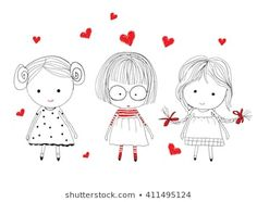 Find Cute Girl Set stock images in HD and millions of other royalty-free stock photos, illustrations and vectors in the Shutterstock collection. Art Drawings For Kids, Pencil Art Drawings, Doodle Drawings, Art Drawings Sketches, Drawing For Kids, Cartoon Drawings, Easy Drawings, Les Doodle, Doodle Art