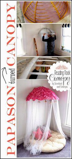 DIY And Crafts: Turn an old papasan chair in to a Canopy Reading Nook for the littles! {Sawdust and Embryos}
