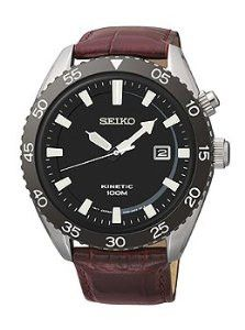 Seiko Kinetic Three-Hand Leather - Brown Men's watch #SKA627