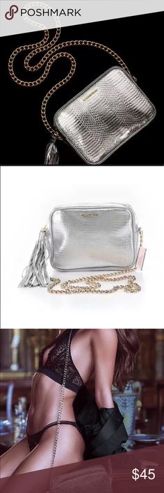 🆕 Victoria Secret silver cross body w gold chain This purse is Brand New With Tags ! PINK Victoria's Secret Bags Crossbody Bags
