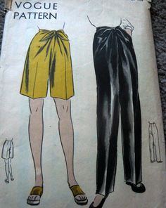 Vintage Vogue 5490 pants and shorts tie front pattern