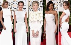 See the 8 hottest Golden Globes trends Golden Globes 2016, Golden Globe Award, Red Carpet 2016, 2016 Trends, Luxury Dress, Plunging Neckline, Get The Look, Awards, White Dress