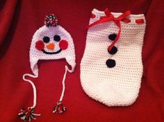 Newborn Crochet Christmas Snowman Photo Prop by BuyBillerman, $30.00