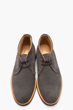 MARK MCNAIRY Charcoal Suede Chukkas
