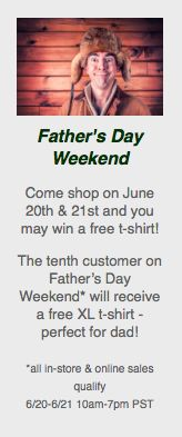 Father's day is just 3 weeks away! Check us out online or in the store with dad.