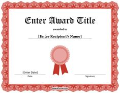 Blank Award Certificate Template For Word Chose From Several Free