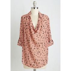 SALE! ModCloth Try Out Your Wings Top in Rose In preparation for open mic night, you don this dusty pink top and flutter to the venue. Soaring with black birds, tabbed sleeves, and a billowy collared-and-cowl neckline, this ethereal blouse is the ideal ensemble to inspire you onstage and help your original song take flight. 100% Polyester. Loose fit. Fabric does not provide stretch. Hand wash. Unlined. Sheer. Tab at sleeve with button closure to adjust length. NWOT, extra button still…