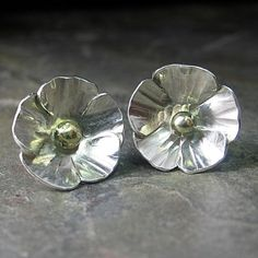 Sterling silver flower studs buttercup poppy nature jewelry