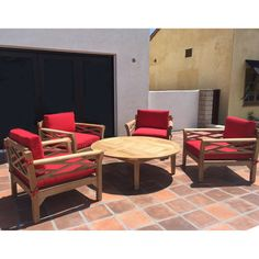 Outdoor Willow Creek Designs Monterey Teak 5 Piece Deep Seating Patio Set with Chat Table Canvas Black