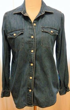 Women's Denim Long Sleeve Shirt Button Down Size Care Tags Missing Dark Blue #Unknown #ButtonDownShirt #Casual