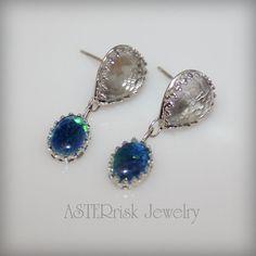 Earrings  White Topaz Opal Sterling Silver by asterrisk on Etsy.