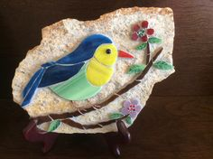 Stained glass mosaic bird on flagstone. Happy B-day to Barb!