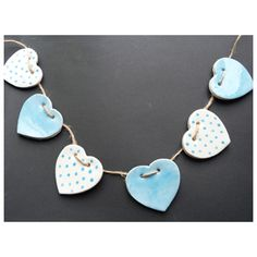HANDMADE CERAMIC BUNTING HEARTS - TURQUOISE - £12.00 : Barker & Cummings:, Crafted with Care
