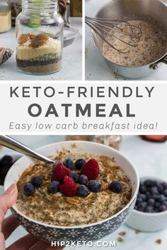 Skip the oats with our keto oatmeal recipe. Full of hemp hearts, chia seeds, and flax seeds, this breakfast will keep you full all day long! Keto Foods, Healthy Foods, Healthy Treats, Healthy Eating, Cereal Keto, Low Carb Keto, Low Carb Recipes, Chia Seed Breakfast, Diet Breakfast