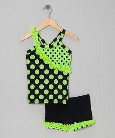 Green & Black Dance Tank & Ruffle Dance Shorts - Toddler & Girls | Daily deals for moms, babies and kids