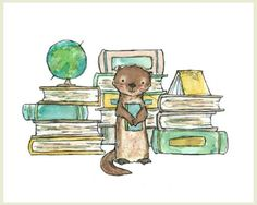 Bookish Otter -- Archival Print by Kit Chase - Otters and reading, two of my favorite things! Art Mignon, Otter Love, Otters, Caricatures, Spirit Animal, Nursery Art, Clipart, Cute Art, Zentangle