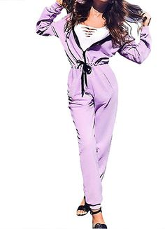 61bfb199405b  SOMTHRON Women s Elastic Waist Zip Up Onesies Bodysuit Rompers Hooded Tie  Front One Piece Overall Jumpsuits  jumpsuit  playsuit  onepiece  overalls  ...
