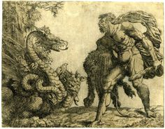 Hercules standing holding his club and lion skin facing the hydra. 1552