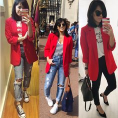 Red Blazer Outfit, Blazer Outfits Casual, Look Blazer, Business Casual Outfits, Blazer Fashion, Stylish Outfits, Fashion Outfits, Look Legging, Summer Work Outfits