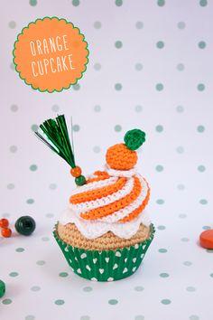 "Orange crochet cupcake By ""I am a Mess"""