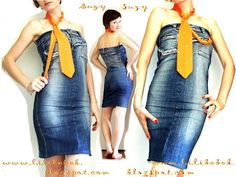 How to turn an old pair of jeans into a minidress. It's a photo tutorial without any explanation so not for beginners.