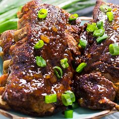 Crock Pot Hawaiian Ribs are fall off the bone tender and covered in a pienapple-teriyaki based sauce. These ribs cook on LOW for 8 hours so this is a recipe you can leave in the Rib Recipes, Lunch Recipes, Dinner Recipes, Hawaiian Ribs Recipe, Healthy Crockpot Recipes, Cooking Recipes, Crockpot Meals, Delicious Recipes, Slow Cooker Bbq Ribs