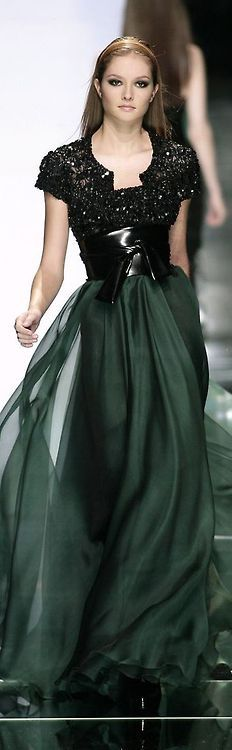 i love the contrast of the embellishment, leather and chiffon in this new evening gown by one of my favorite chic-masters, Elie Saab.