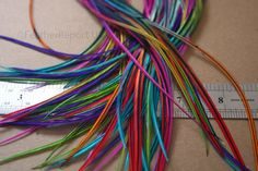 15 Long Rainbow Feather Hair Extensions Tie Dyed