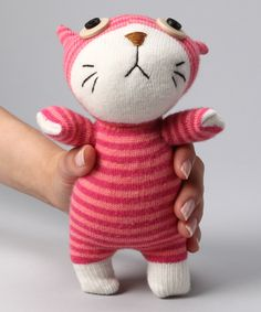 NO3NO4 Pink Cat Sock Doll  you think you could make something like this? @Varenikje
