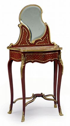 French Ormolu Mounted Kingwood and Parquetry Dressing Table, late quarter 19th century