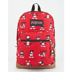 Jansport X Disney Red Tape Right Pack Backpack ($75) ❤ liked on Polyvore featuring bags, backpacks, jansport bags, jansport rucksack, jansport, knapsack bag and red laptop bag