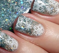 Winter Holiday Nail Art - Sparkling snowflake manicure inspired by Disney's Frozen  |  Sassy Shelly
