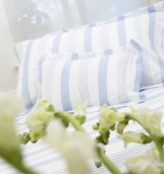 £45 Pavilion Duvet Cover Beautiful Classic Ticking Stripe Duvet Covers In Fresh Blue & Cool Taupe. Made From A 200 Thread Count Cotton Percale.